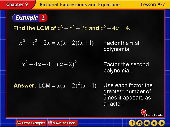 Find the LCM of x 3 – x 2 – 2 x and x