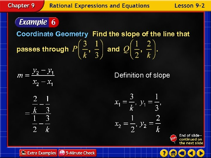 Coordinate Geometry Find the slope of the line that passes through and Definition of