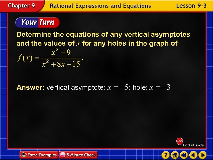 Determine the equations of any vertical asymptotes and the values of x for any