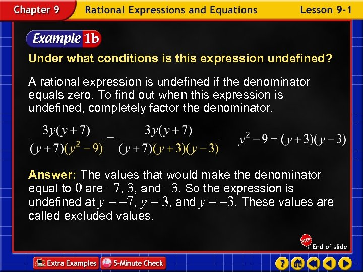 Under what conditions is this expression undefined? A rational expression is undefined if the