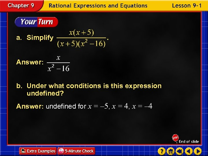 a. Simplify Answer: b. Under what conditions is this expression undefined? Answer: undefined for