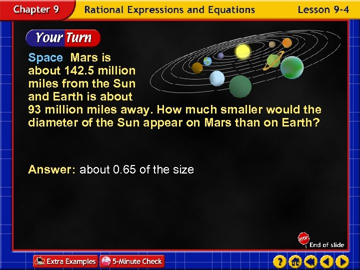 Space Mars is about 142. 5 million miles from the Sun and Earth is