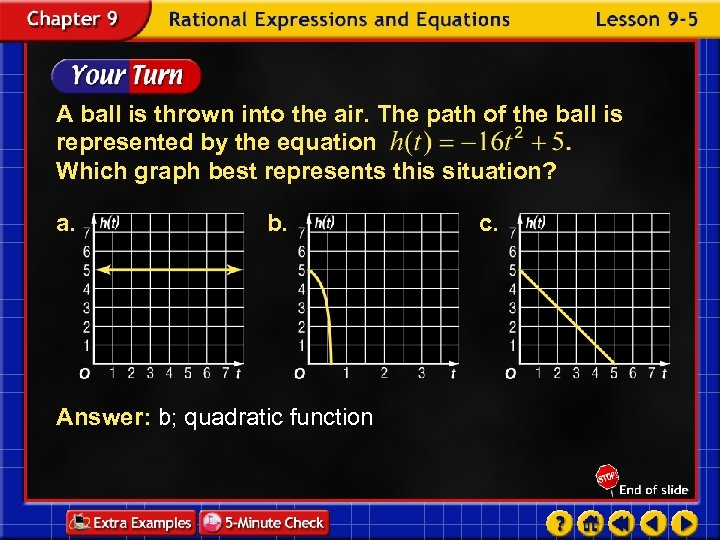A ball is thrown into the air. The path of the ball is represented