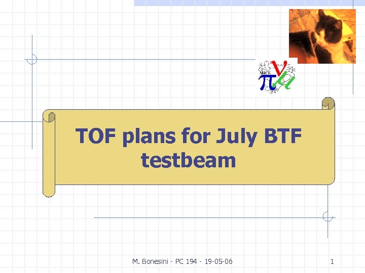 M. Bonesini TOF plans for July BTF INFN Milano testbeam M. Bonesini - PC
