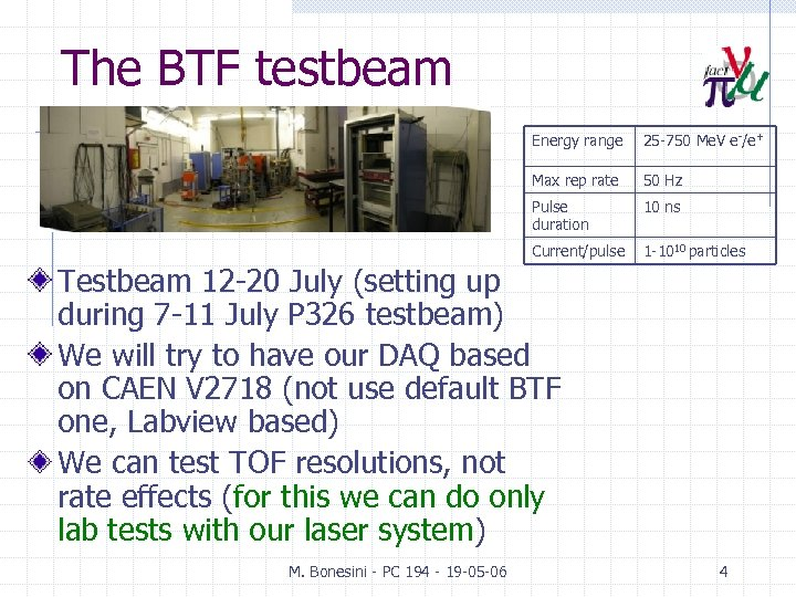 The BTF testbeam Energy range 25 -750 Me. V e-/e+ Max rep rate 50