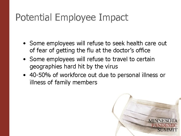 Potential Employee Impact • Some employees will refuse to seek health care out of