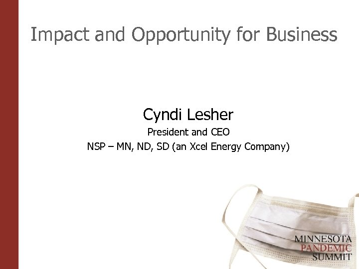 Impact and Opportunity for Business Cyndi Lesher President and CEO NSP – MN, ND,