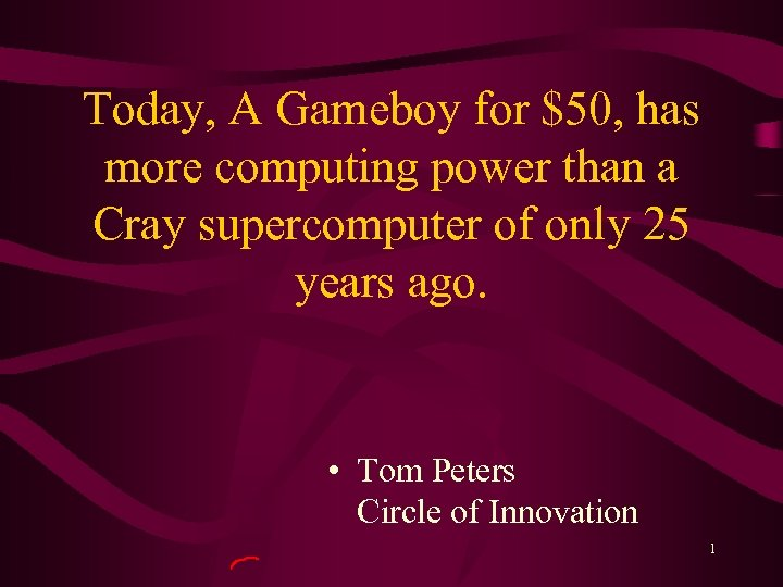 Today, A Gameboy for $50, has more computing power than a Cray supercomputer of