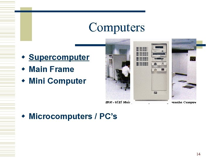 Computers w Supercomputer w Main Frame w Mini Computer w Microcomputers / PC's 14