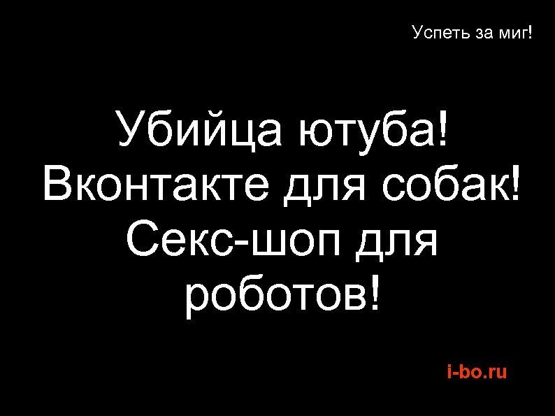 Успеть за миг! Убийца ютуба! Вконтакте для собак! Секс-шоп для роботов! i-bo. ru