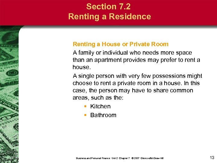 Section 7. 2 Renting a Residence Renting a House or Private Room A family