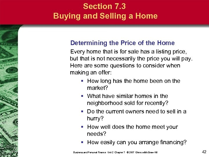 Section 7. 3 Buying and Selling a Home Determining the Price of the Home