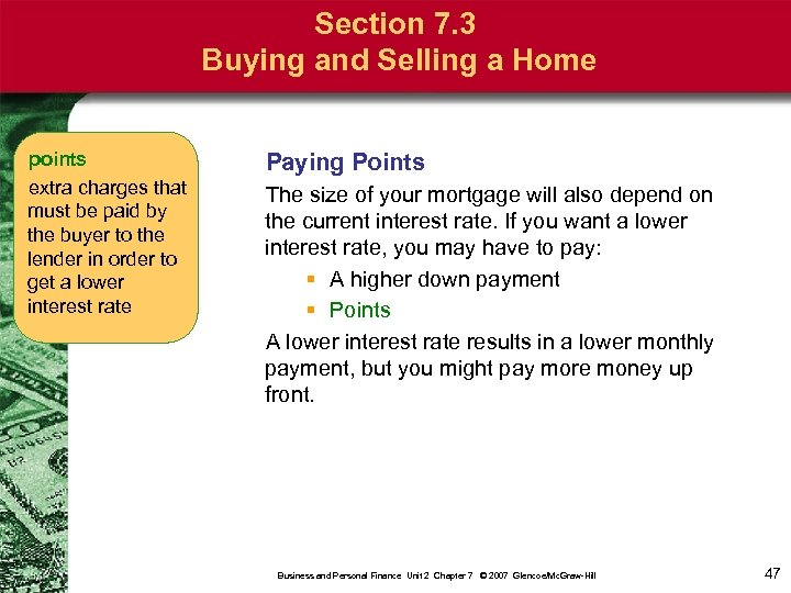 Section 7. 3 Buying and Selling a Home points extra charges that must be