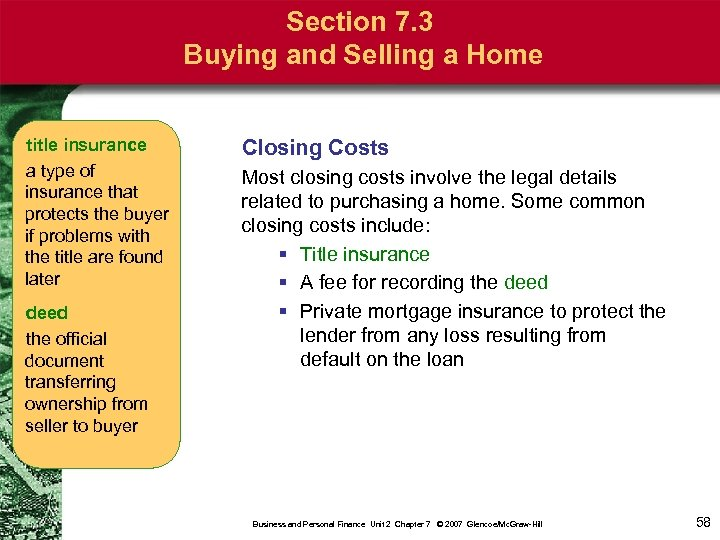 Section 7. 3 Buying and Selling a Home title insurance a type of insurance