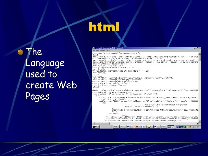 html The Language used to create Web Pages
