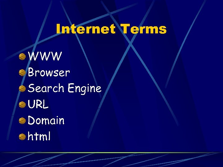 Internet Terms WWW Browser Search Engine URL Domain html