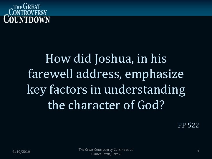 How did Joshua, in his farewell address, emphasize key factors in understanding the character
