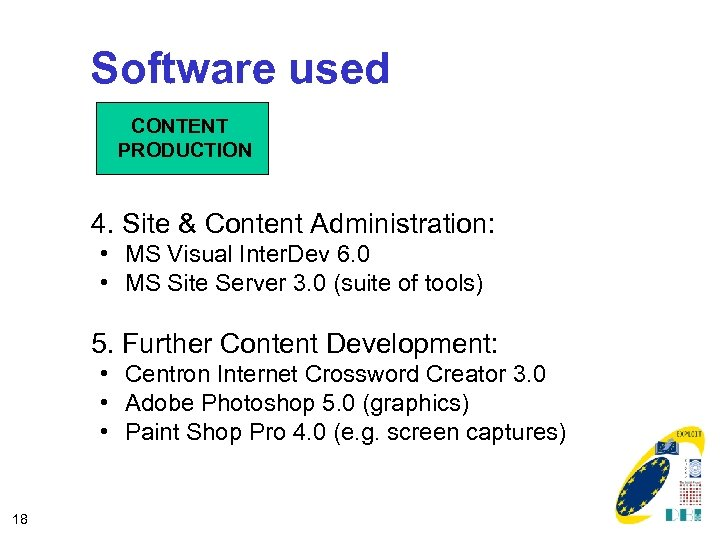 Software used CONTENT PRODUCTION 4. Site & Content Administration: • MS Visual Inter. Dev