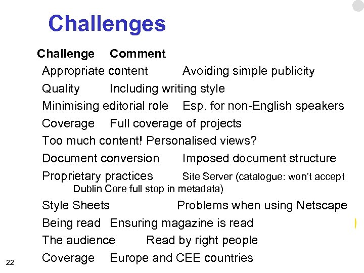 Challenges Challenge Comment Appropriate content Avoiding simple publicity Quality Including writing style Minimising editorial