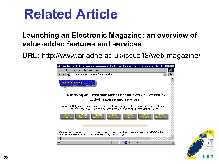 Related Article Launching an Electronic Magazine: an overview of value-added features and services URL: