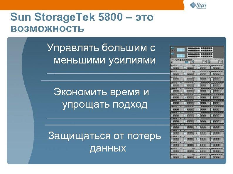 Sun Storage. Tek 5800 – это возможность Управлять большим с меньшими усилиями Экономить время