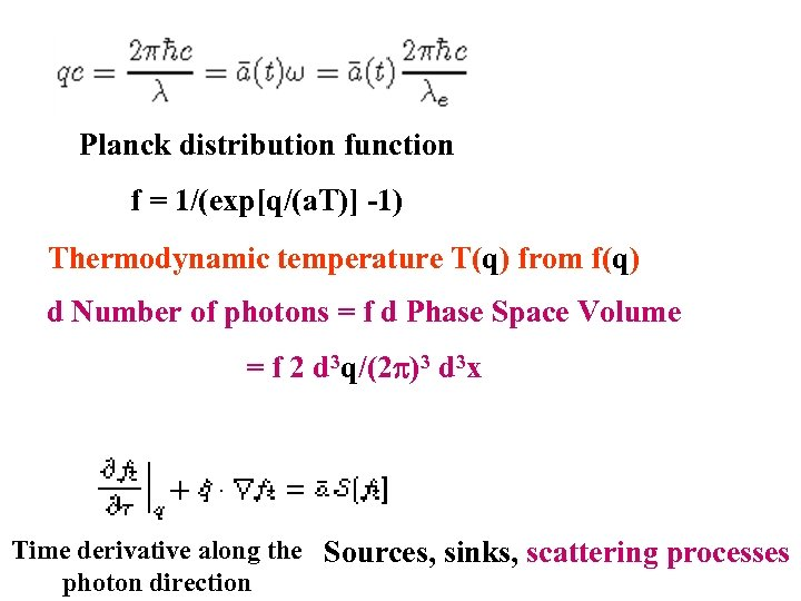 Planck distribution function f = 1/(exp[q/(a. T)] -1) Thermodynamic temperature T(q) from f(q) d