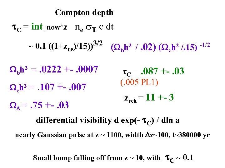 Compton depth t. C = int_now^z ne s. T c dt ~ 0. 1