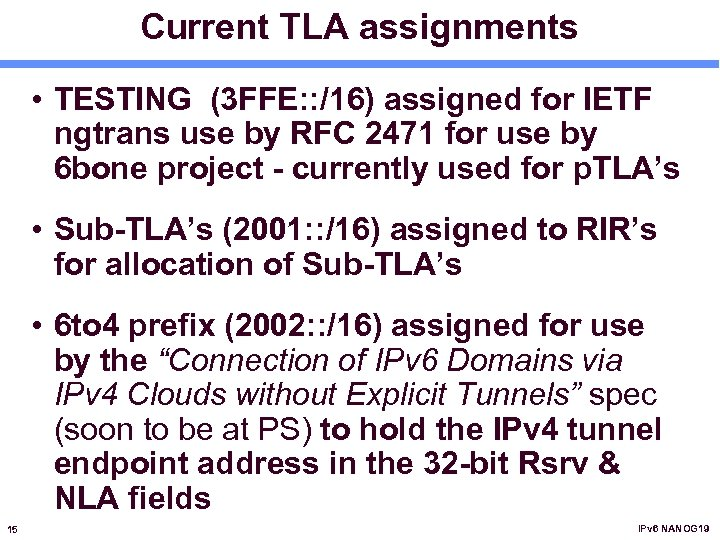 Current TLA assignments • TESTING (3 FFE: : /16) assigned for IETF ngtrans use