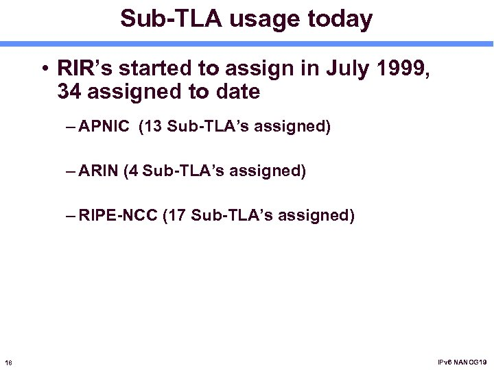 Sub-TLA usage today • RIR's started to assign in July 1999, 34 assigned to