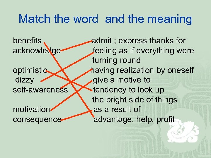 Match the word and the meaning benefits acknowledge optimistic dizzy self-awareness motivation consequence admit