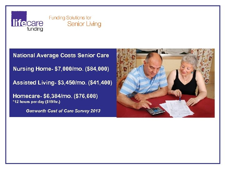 National Average Costs Senior Care Nursing Home- $7, 000/mo. ($84, 000) Assisted Living- $3,