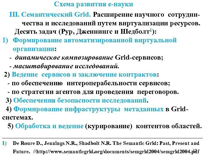 Схема развития е-науки ІІІ. Семантический Grid. Расширение научного сотрудни- чества и исследований путем