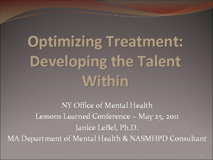 Optimizing Treatment: Developing the Talent Within NY Office of Mental Health Lessons Learned Conference