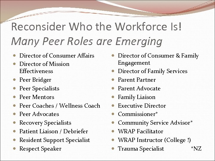 Reconsider Who the Workforce Is! Many Peer Roles are Emerging Director of Consumer Affairs