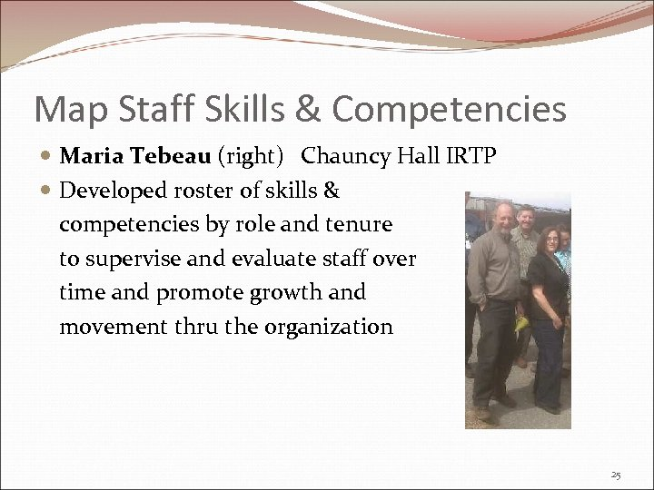 Map Staff Skills & Competencies Maria Tebeau (right) Chauncy Hall IRTP Developed roster of