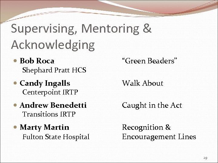 "Supervising, Mentoring & Acknowledging Bob Roca Shephard Pratt HCS ""Green Beaders"" Candy Ingalls Centerpoint"