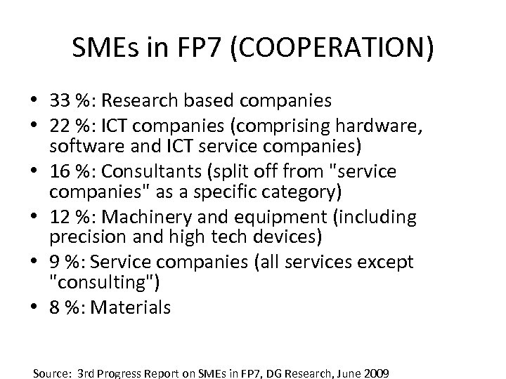 SMEs in FP 7 (COOPERATION) • 33 %: Research based companies • 22 %: