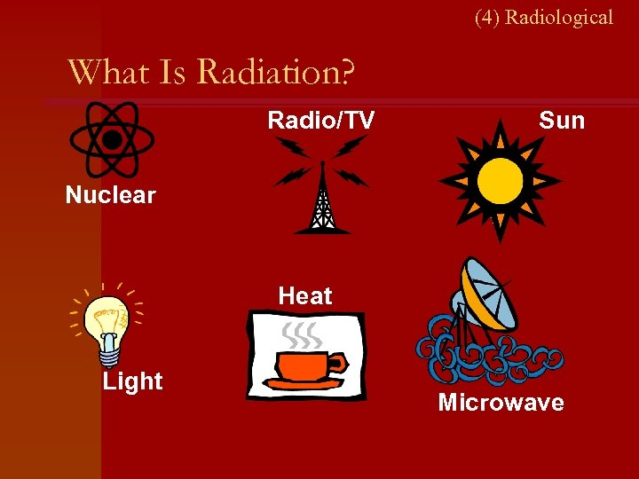 (4) Radiological What Is Radiation? Radio/TV Sun Nuclear Heat Light Microwave