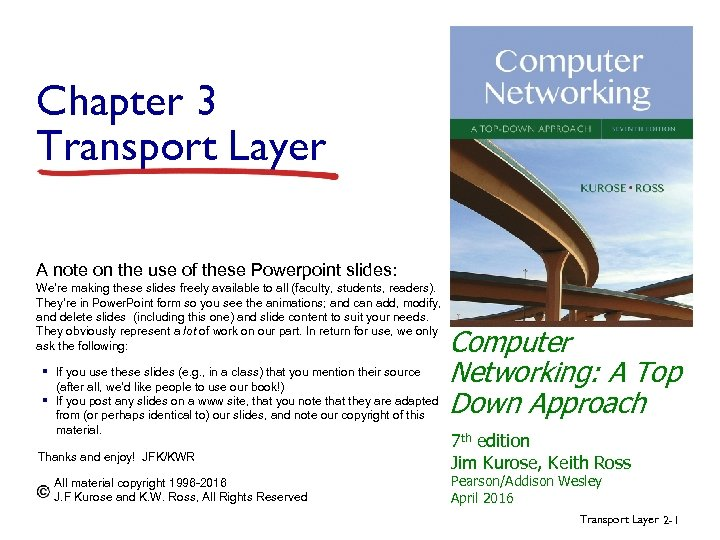 Chapter 3 Transport Layer A note on the use of these Powerpoint slides: We're