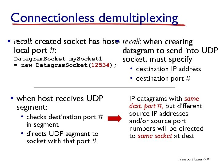 Connectionless demultiplexing § recall: created socket has host- recall: when creating § local port