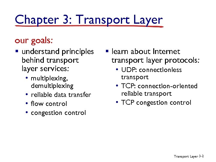 Chapter 3: Transport Layer our goals: § understand principles behind transport layer services: •