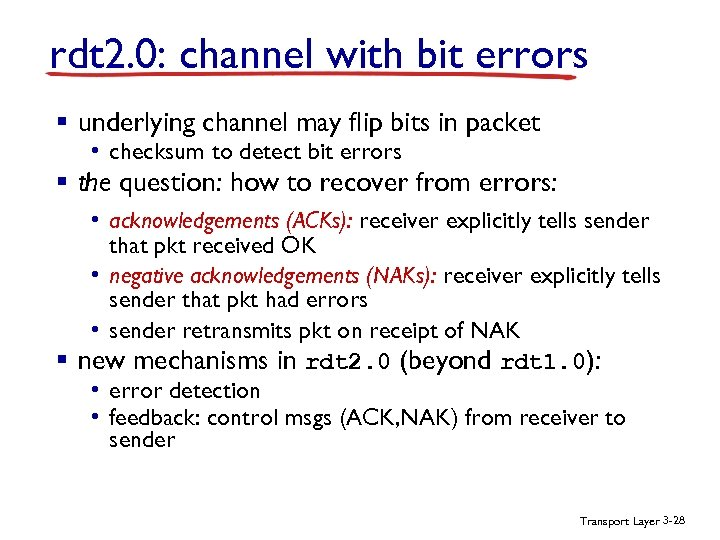 rdt 2. 0: channel with bit errors § underlying channel may flip bits in