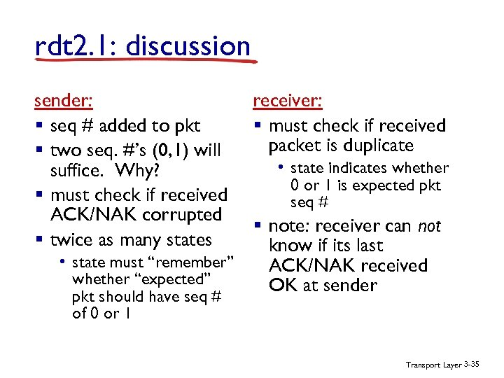 rdt 2. 1: discussion sender: § seq # added to pkt § two seq.