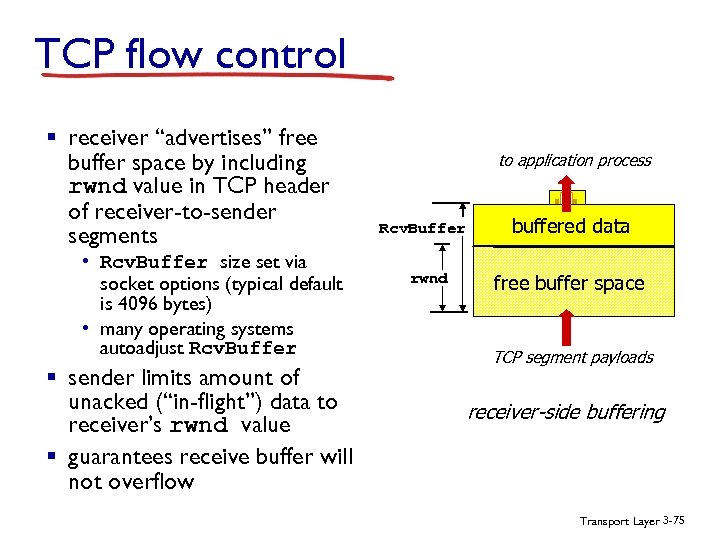 "TCP flow control § receiver ""advertises"" free buffer space by including rwnd value in"