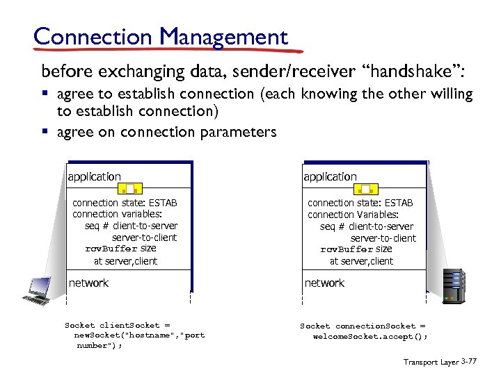 "Connection Management before exchanging data, sender/receiver ""handshake"": § agree to establish connection (each knowing"