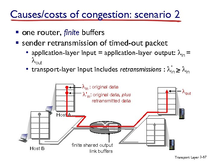 Causes/costs of congestion: scenario 2 § one router, finite buffers § sender retransmission of