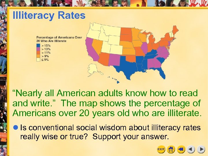 "Illiteracy Rates ""Nearly all American adults know how to read and write. "" The"