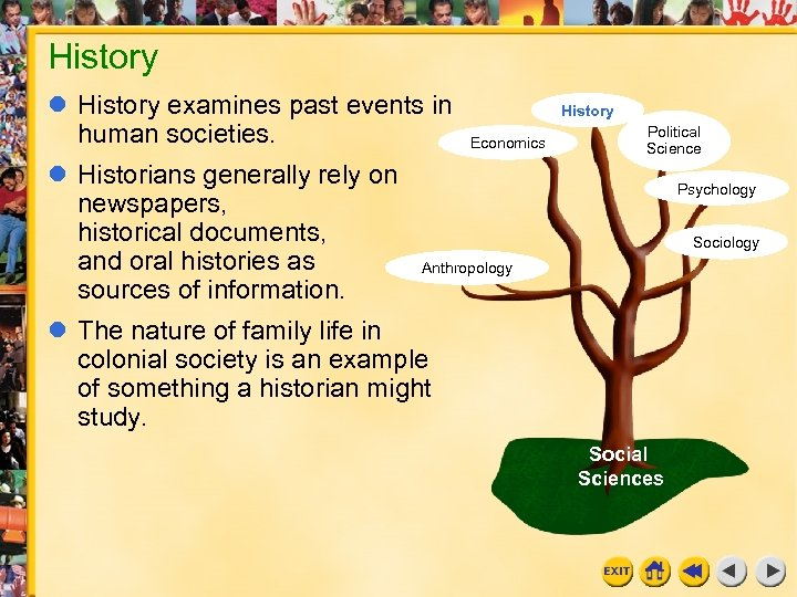 History examines past events in human societies. Historians generally rely on newspapers, historical documents,