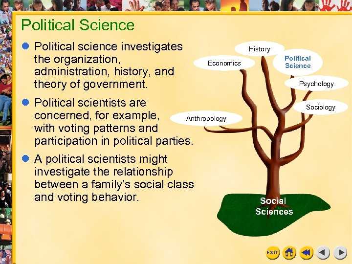 Political Science Political science investigates the organization, administration, history, and theory of government. History