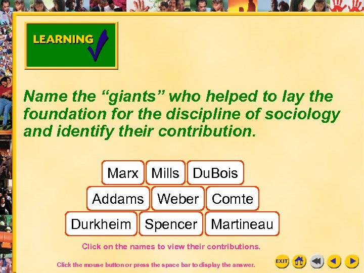 "Name the ""giants"" who helped to lay the foundation for the discipline of sociology"